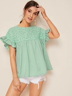 To find out about the Ruffle Cuff Eyelet Embroidery Blouse at SHEIN, part of our latest Blouses ready to shop online today! Tweed Dress, Smock Dress, Mesh Dress, Belted Dress, Creation Couture, Pulls, Boho Dress, Types Of Sleeves, Dress Patterns