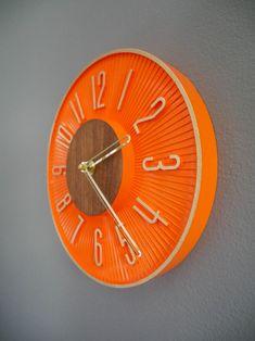 Mid Century Inspired Orange and Walnut Del Ray Wall Clock | Etsy