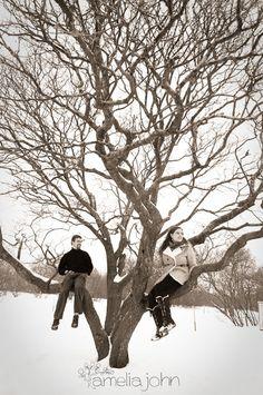 Winter Engagement Session - beautiful bare tree shot
