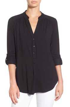 ELENA ROLL TAB SLEEVE TOP by Amour Vert