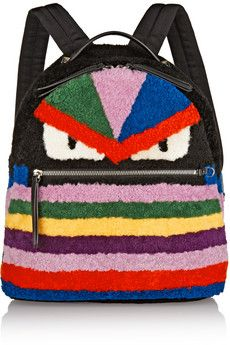 Fendi Leather-trimmed shearling backpack   NET-A-PORTER