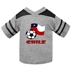 Image, on toddler football shirt, shows the Chilean Flag with a #soccer or football in the front and the word #CHILE in red letters. Lots of fun in sharing your culture, heritage and ancestry while supporting Team Chile. $22.99 http://ink.flagnation.com Designed by @AuntieShoe.