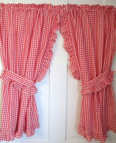 Red White Gingham Curtains - 2 panels, Valance and Ruffled Tie Backs - Vintage 1980's cottage farmhouse