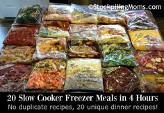 20 Slow Cooker Freezer Meals in 4 Hours to give your family a new and exciting dinner for 20 days! No recipe is duplicated so there is truly twenty meals. Slow Cooker Freezer Meals, Crock Pot Slow Cooker, Freezer Cooking, Crock Pot Cooking, Slow Cooker Recipes, Cooking Recipes, Healthy Recipes, Cooking Tips, Easy Recipes