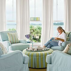 Pastel Living Room - 20 Beautiful Beach Cottages - Coastal Living