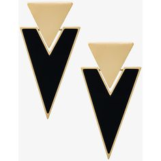 Saint Laurent Brass & Resin Triangle Earrings ($455) ❤ liked on Polyvore featuring jewelry, earrings, accessories, black, 80s jewelry, yves saint laurent, triangle jewelry, resin stud earrings and studded jewelry