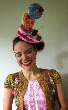 wayne thiebald hat making diy Costume Bonbon, Donut Costume, Crazy Hat Day, Crazy Hats, Funky Hats, Cool Hats, Fascinator Hats, Fascinators, Headpieces
