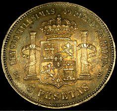 1876 SPAIN 5 Pesetas King Alfonso XII SILVER CROWN Gorgeous Shape SCARCE COIN!