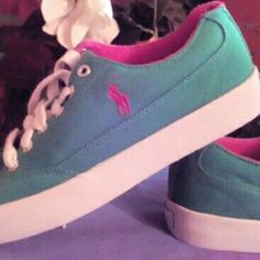 """Ralph Lauren Canvas tennis shoes """" SOLD"""" Lime Green & Hot Pink , Polo shoes, never worn, absolutely no signs of wear, super cute! Polo by Ralph Lauren Shoes Sneakers"""