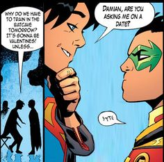 That feeling when you're supposed to be hyped for Valentines, but Supersons is coming out two days later. (Panels from Superman edits by me). Super Sons, Demian Wayne, Batman Y Superman, Jon Kent, Hq Dc, Superhero Kids, Dc Memes, Batman Family, Comics Universe