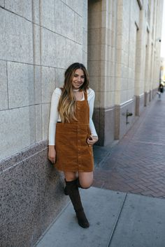 balayage, runway hair salon, what i wore today, Corduroy overall dress, suede over the knee boots, and a choker blouse.   pear shaped style, outfit of the day, fall, what I wore | www.lauryncakes.com | @sedonaeast
