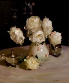 "Dennis Perrin  ""White Peonies with Silver"""