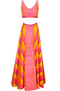 Yellow and shades of pink sequins embroidered panelled lehenga set available only at Pernia's Pop-Up Shop.