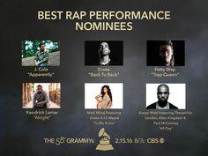 Congrats #GRAMMYs Best Rap Performance nominees! J.Cole, Drake, Fetty Wap, Kendrick Lamar, Nicki Minaj Featuring Drake & Lil Wayne, Kanye West Featuring Theophilus London, Allan Kingdom & Paul McCartney