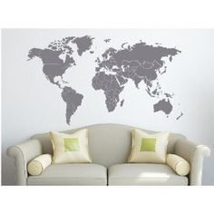 Vinyl wall map with borders