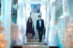 "Midnight Pictures - Bates Motel - AETV.com pic 9/23.  Norman and Emma arrive at the Winter Formal, dressed in their fanciest duds. Even Emma's oxygen tank got a makeover. Emma and Norman are overwhelmed at first. They reveal to each other that neither of them have ever been to a dance before. Norman suggests that they could always leave, but Emma tells him, ""No, we're doing this."""