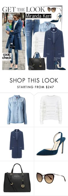 """""""No 243:Get the Look: Cool Coats-Miranda Kerr"""" by lovepastel ❤ liked on Polyvore featuring Post-It, Frame Denim, 7 For All Mankind, Lala Berlin, Isabel Marant, Manolo Blahnik, MICHAEL Michael Kors, Miu Miu and coolcoat"""
