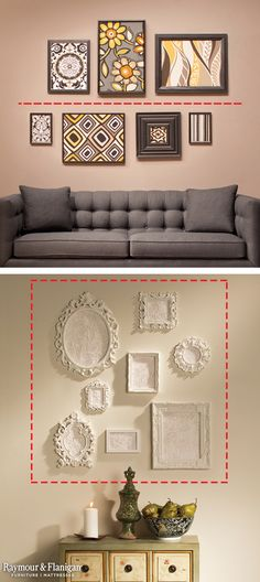 when hanging frames, draw imaginary lines. Line Art (top): If you have a generous amount of horizontal wall space, draw an imaginary line on your wall and place artwork, photos or decorative plates above and below the line so your display feels balanced. Diy Casa, Hanging Frames, Frames On Wall, Hanging Artwork, Wall Spaces, Home Projects, Furniture Design, Room Decor, Living Room Wall Decor Ideas Above Couch