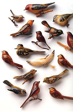 Japanese carved wooden birds made during world war II