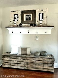 Rustic pallet bench.  Very cool idea.  Could also work for a night stand.