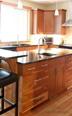 Black Granite with Cherry Cabinets Kitchen | jpg | Kitchen Cabinets ...