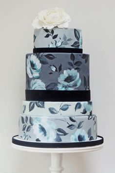 ombre cake with painted flowers - Google Search
