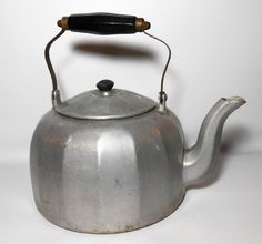 Vintage Tea Kettle, Mirro, Primitive, Aluminum, Metal, Wood Handle, Tea Pot, Large, Rustic, Kitchenware, Country, Antique by TheBackShak on Etsy