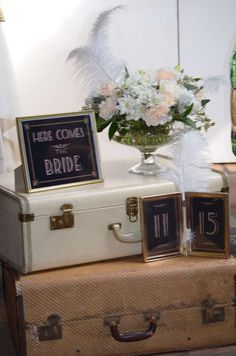 Great Gatbsy bridal shower decorations!  See more party planning ideas at CatchMyParty.com!