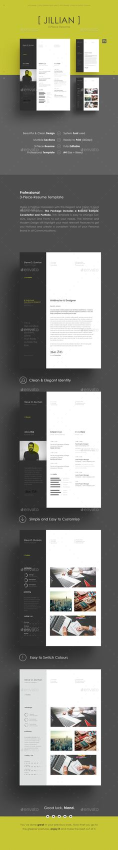 Buy Resume by Haluze on GraphicRiver. Jillian – Make a Positive Impression with this Elegant and Clean 3 pack Resume Template. Job Resume Examples, Resume Tips, Resume Cv, Resume Writing, Resume Format, College Resume Template, Resume Design Template, Creative Resume Templates, Cv Template