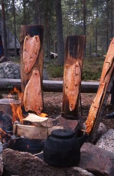 smoking fish next to the fire Smoker Cooking, Fire Cooking, Joy Of Cooking, Outdoor Cooking, Barbecue, Bbq Grill, Camping And Hiking, Camping Meals, Francis Mallman