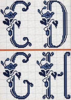 ♥Meus Gráficos De Ponto Cruz♥: Alfabeto Floral Clássico em Ponto Cruz