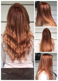 Hair Color - Dark strawberry blonde to light strawberry blonde ombre / balayage