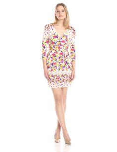 Jessica Simpson Women's Floral Faux Wrap Dress, Print, 6