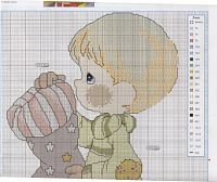 "Gallery.ru / tymannost - Альбом ""Las Labores de Ana Baby 29"". Boy with stocking Christmas cross stitch pattern"