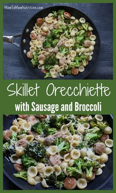 With just 5 ingredients, skillet orecchiette with sausage and broccoli is a simple, healthy weeknight meal ready in under 30 minutes! to Mom Nutrition Healthy Weeknight Meals, Quick Meals, Easy Dinners, Healthy Lunches, Healthy Pasta Recipes, Pizza Recipes, How To Cook Pasta, Pasta Dishes, Entrees