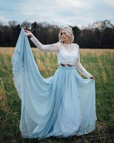 On Trend: 12 Bridal Separates - Breaking The Rules ❤ breaking the rules bridal separates lace top blue skirt sweetcarolinestyles #weddingforward #wedding #bride #weddingoutfit #bridaloutfit #weddinggown