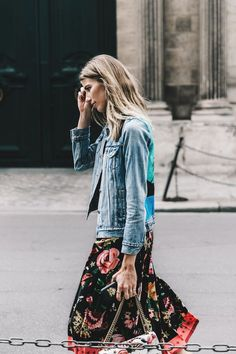Floral and denim street style.
