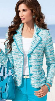 I like the brighter turquoise color! Stylish Dresses, Fashion Dresses, Looks Kate Middleton, Chanel Style Jacket, Cool Outfits, Casual Outfits, Mode Chanel, Blazer Jackets For Women, Blazer Fashion