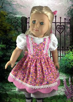 "Pinafore and Dress for American Girl 18"" Doll"