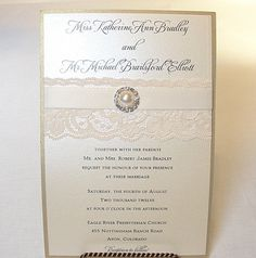 AVA1 Lace Wedding Invitation with Rhinestone by LavenderPaperie1, $618.75