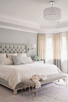 gray, white, and tan bedroom. Great two tone curtains and upholstered headboard! Love the softness of the neutral colors gray, white, and tan bedroom. Great two tone curtains and upholstered…