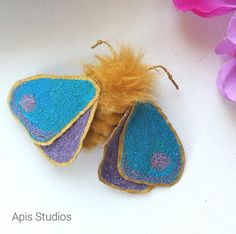 Moth brooch, textile art, quirky textile accessories, fibre arts, boho decor, textile brooch, butterfly brooch, embroidered art by ApisStudios on Etsy