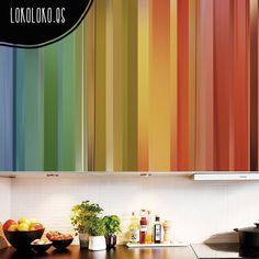 Vinilo adhesivo de franjas de colores para decorar la cocina · Se puede limpiar sin problema. #lokolokodecora #viniloscocinas