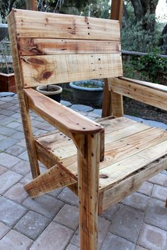 Rustic Pallet Wood Chair by rusticindustrial on Etsy.