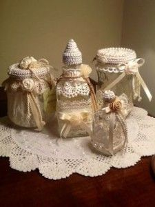 Jar lid covers crochet patterns lovely lace in by - Barattoli vetro decorati ...
