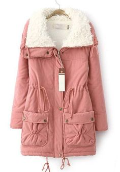 Pink Plain Drawstring Pockets Thick Cotton Blend Parka