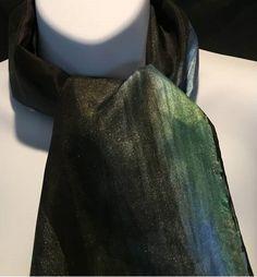 Hand Painted Black Habotai Silk hand-hemmed Scarf by SilkyRoadArt