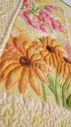 Textilný obraz - kvetná nálada 2 Quilts, Comforters, Quilt Sets, Kilts, Patchwork Quilting, Lap Quilts, Quilling Art, Crochet, Patchwork Blanket