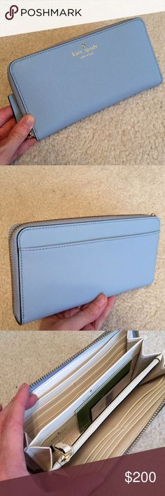 kate spade♠️ lacey wallet Beautiful sky blue zip wallet with cream interior. Brand new!! kate spade Bags Wallets