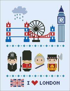 London icons - Mini people around the world - PDF cross stich pattern